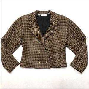 Vintage 90's Anne Klein plaid crop blazer 4 S